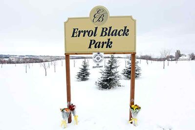 Flowers are placed at Errol Black Park on Sunday in remembrance of Black, who passed away over the weekend after a lengthy battle with ALS.