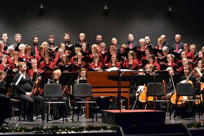"""Oak Lake choirs the Noteable Women and The Heard sing """"The   Messiah"""" by Handel with the Winnipeg Symphony Orchestra in Winnipeg last December. On Sunday, the two Oak Lake choirs will perform at St. Paul's United Church in Souris."""