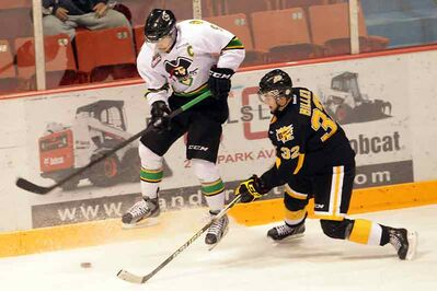 Prince Albert forward Mark McNeill and defenceman Ryley Miller of the Brandon Wheat Kings jostle for the puck.