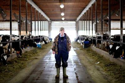 Dairy farmer Fred Neil stands in a dairy barn on his farm northeast of Hartney on Sunday. Neil is still struggling with the aftermath of the devastating flood of 2011 along the Souris River.