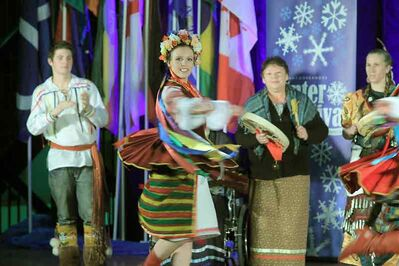 Dancers from four pavilions — First Nations, Ireland, Métis and Ukraine — perform together at the opening ceremonies for the 10th annual Lieutenant Governor's Winter Festival on Thursday evening  at Brandon City Hall.