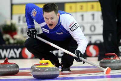 Brandon skip Rob Fowler calls on his sweepers Wednesday in Neepawa.