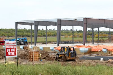 Work on the future Spirit Sands Casino takes places on Monday afternoon along Highway 5 south of Carberry.