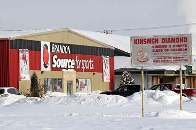 Brandon Source for Sports on Brandon Avenue is looking to expand onto an adjacent property currently used as the Kinsmen baseball diamond. (Tim Smith/Brandon Sun)