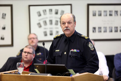 Chief Ian Grant of the Brandon Police Service speaks during the city's 2014 budget deliberations last Friday.