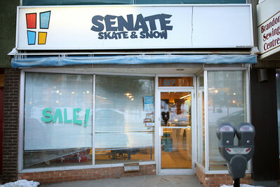 Senate Skate & Snow on Princess Avenue sits closed on Thursday afternoon. A pending rent hike by the building's owner has forced the longtime local skateboard shop to close.