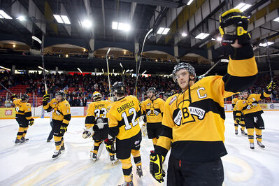 Captain Ryan Pulock and the Brandon Wheat Kings celebrated a series sweep of the Regina Pats in Round 1.