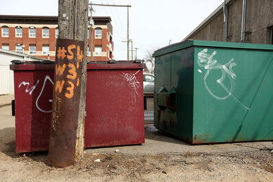 Graffiti covers garbage bins behind businesses on Seventh Street.