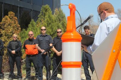 Emergency services workers, including police, fire, towing and highway construction workers, were on hand during Thursday's launch of Manitoba Safe Roads campaign at City Hall.