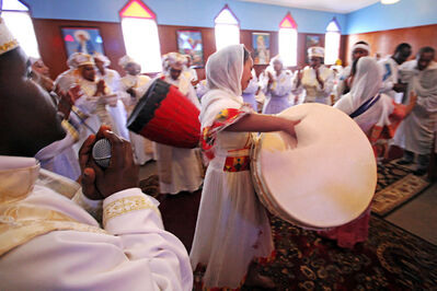 Members of the Ethiopian Orthodox Church celebrate on Sunday.
