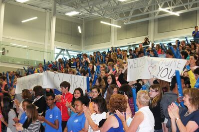Grade 7 and 8 students from 12 Westman schools cheer for Olympian Clara Hughes before she left Brandon Friday on the next leg of Clara's Big Ride. The ride will wrap up in Ottawa on Canada Day.