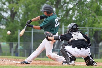 Shane Levandoski of the Neepawa Farmers connects with the ball during MSBL action against the Brandon Marlins at Andrews Field on Sunday afternoon.
