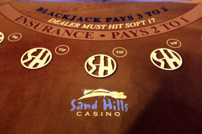 A blackjack table is seen close up inside the casino, located on Highway 5 south of Carberry.