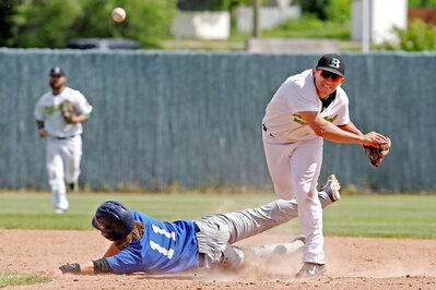 Second baseman Jason Shaul of the Brandon Cloverleafs throws the ball to first base for a double play after tagging out Riley Acra of the Oak Rivers Dodgers during Manitoba Senior Baseball League action at Andrews Field on Sunday afternoon.