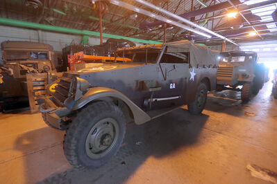 A Second World War White Scout Car with a white star — a symbol of Allied forces— placed crooked on the hood by Canadian soldiers so they wouldn't be mistaken as American.