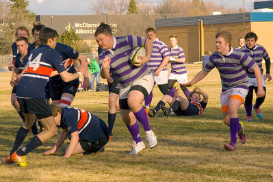 Brandon's Bryce Colquhoun carries the ball for the Vincent Massey Vikings in Westman High School Rugby League action.