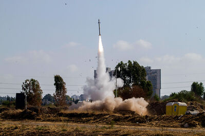 An Iron Dome air defence system fires to intercept a Hamas rocket from the Gaza Strip in Tel Aviv, Israel, on July 9.