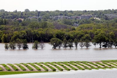 Flood water obscures Grand Valley Road and most of the crops in the eastern fields at the Brandon Research Centre west of 18th Street on July 4, 2014.