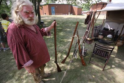 """A man, known only as """"Old Goat"""" around his camp, was one of seven campers who set up at Spruce Woods Provincial Park as part of Pine Fort Days over the weekend, a showcase of how the Northwest Company fur traders lived."""