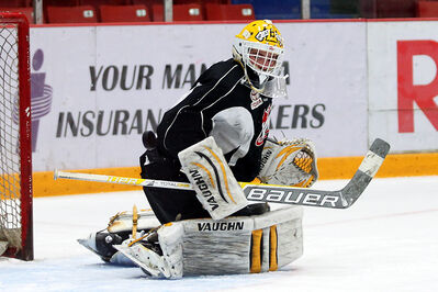 Goaltender Jordan Papirny turns aside a shot in Brandon Wheat Kings practice on Thursday at Westman Place.