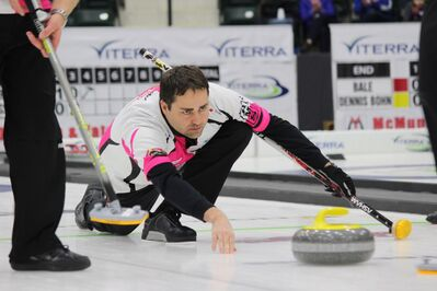 Kelly Marnoch of Carberry, seen at this year's Viterra Championship in Portage la Prairie, earned a return trip to men's curling provincials, which will be held in Winkler in January 2018, through a berth bonspiel in Swan Lake on Sunday.