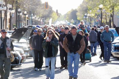 Visitors to the first Cruise Night of the season pack Rosser Avenue in downtown Brandon on Thursday.