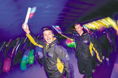 PHOTOS BY DAVID LIPNOWSKI / WINNIPEG FREE PRESSAthletes cheer during the opening ceremonies of the Manitoba Games in Morden Sunday night. The Games run until March 8.