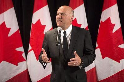 Conservative leadership candidate Kevin O'Leary scrums with the media after speaking at the Empire Club luncheon in Toronto, on Friday, April 7, 2017. Celebrity investor and reality-TV star O'Leary is quitting the federal Conservative leadership race and throwing his support behind Quebec rival Maxime Bernier. THE CANADIAN PRESS/Chris Young