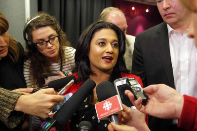 BORIS MINKEVICH / WINNIPEG FREE PRESS </P><P>Liberal Leader Rana Bokhari did a quick scrum and then hugged her followers and fellow candidates.