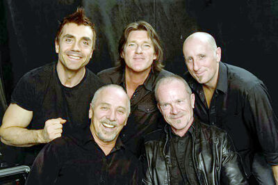 Harlequin's lineup is fronted by original singer-songwriter George Belanger (bottom left), who is joined by original keyboardist Gary  harmony vocals, Derrick Gottfried (top left) on guitar and AJ Chabidon (top centre) on drums.