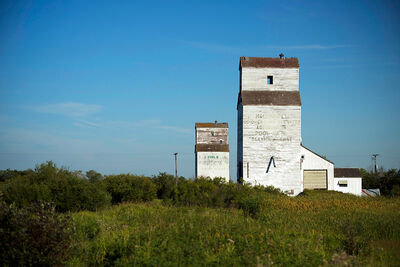 "Grain elevators still stand in McConnell, a ghost town which is the focus of ""Very Good Dirt."""