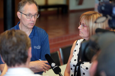 City of Brandon risk and emergency management director Brian Kayes spoke about flood preparations being taken by the city, alongside Mayor Shari Decter Hirst, as it plans for the influx of water on the Assiniboine River during a news conference at city hall on Wednesday morning.
