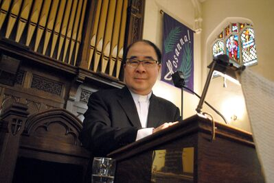 First Presbyterian Church Rev. Dong-Ha Kim is seen at the pulpit following this year's Easter Sunday service.