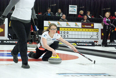 Souris native Michelle Kruk, the lead for Winnipeg's Darcy Robertson, throws a rock at the provincial Scotties Tournament of Hearts in Virden this week. Making her third straight trip to the event, Kruk was in position to make the playoffs for the first time.