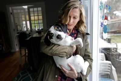 In this Wednesday, March 29, 2017 photo Kate Fredette, of Waltham, Mass., holds the family dog Roscoe at their home in Waltham. The Fredette family found the dog through the online platform How I Met My Dog, that matches humans with dogs based on what really matters: personality, lifestyle and behavior. (AP Photo/Steven Senne)