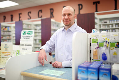 Rob Jaska, a pharmacist at the Medical Centre Super Thrifty Pharmacy on Sixth Street, will soon be able to administer vaccines and write prescriptions for customers.