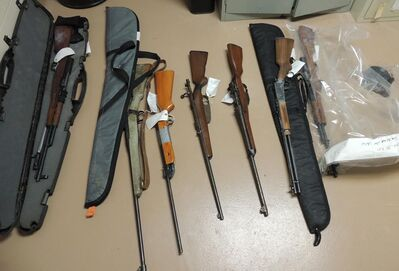 RCMP released this photo of guns seized from a pair of homes on Sandy Bay First Nation on Feb. 22, 2014.