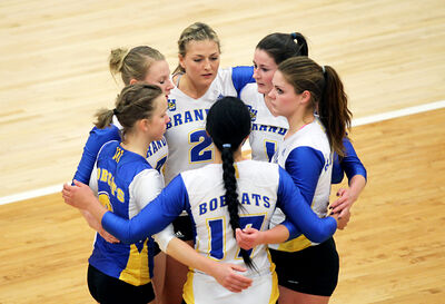 Brandon University Bobcats players gather after losing their Canada West women's volleyball playoff series opener to the UBC Okanagan Heat in three sets at the Healthy Living Centre on Thursday evening. The Bobcats will host the Heat again tonight.