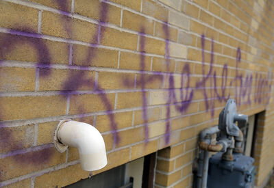 Graffiti defaces a wall of the Brandon Dental Centre on Princess Avenue after it was tagged on Thursday morning.