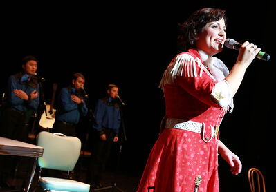 """Kitrina Plante performs as country crooner Patsy Cline during the Brandon engagement for """"Always, Patsy Cline,"""" which was performed from Oct. 30-Nov. 3 at the Western Manitoba Centennial Auditorium. The show is heading to Winnipeg for performances on May 23-24, and a bus trip is planned for Brandonites who missed the show here or want to see it again."""
