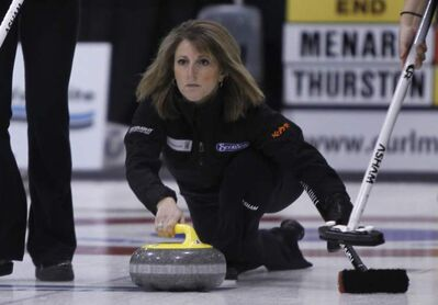 Skip Jill Thurston playing Team Menard in the the Scotties Tournament of Hearts in Stonewall on Wednesday.
