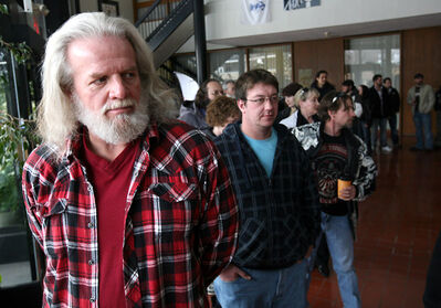 """Jeff Billings drove out from Winnipeg to be an extra in an upcoming horror movie shoot in Brandon. Billings joined a few hundred hopefuls at City Hall for the chance to be in """"Wrong Turn 4""""."""