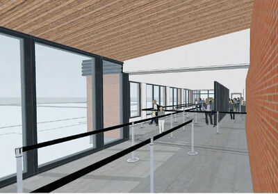 Artist's renderings show the planned interior overhaul of the Brandon Municipal Airport. The city resecured the services of Prairie Architects Inc. and AirBiz to complete the 2014 terminal redevelopment designs, as both firms had assisted in a 2008 redevelopment study of the airport.