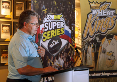 Brandon Wheat Kings head coach and general manager Kelly McCrimmon unveils plans for a Subway Super Series game to be hosted by Brandon in November at a news conference on Thursday at CanadInns Brandon.