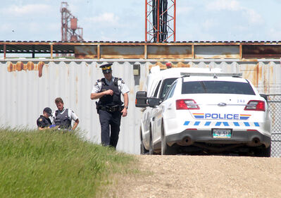 RCMP officers investigate the scene of a sexual assault, reported Tuesday morning, west of Brandon and south of Kemnay.