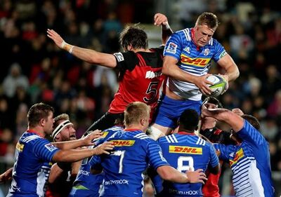 Stormers Chris van Zyl takes the ball in a lineout during their super rugby match against the Crusaders in Christchurch, New Zealand, Saturday, April 22, 2017. (AP Photo/Mark Baker)