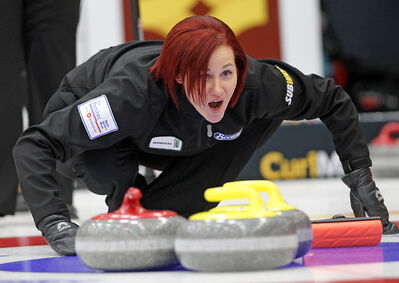 Brandon's Kortney Teale calls on her sweepers during her first draw at the provincial Scotties in Virden yesterday.