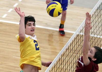 Brandon Volleyball Club 14U Gold's Jake Thomson takes a swing during the 13/14U final against the 204 Gold squad in the BVC Classic on Sunday afternoon at Brandon University's Healthy Living Centre. BVC won 2-1 (26-28, 25-19, 15-12).