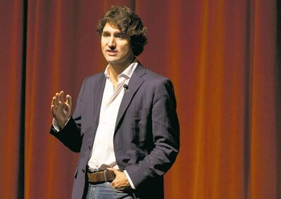 Federal Liberal leadership hopeful Justin Trudeau addresses students in Halifax last fall. He'll be at Brandon University later this month.