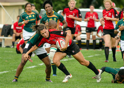 Brandon native Amanda Thornborough, with the ball, is part of the Canadian team that will take on the hosts from France in an IRB Women's Rugby World Cup semifinal today.